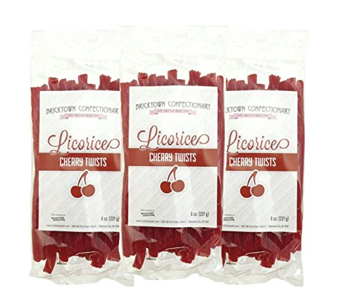 Cherry Flavored Licorice - 3 PACK - FAT FREE Old Fashioned Gourmet Licorice Twists - A Must Try Quality Licorice Candy with Unique Flavor Unlike Any Other - 1 1/2 pounds total