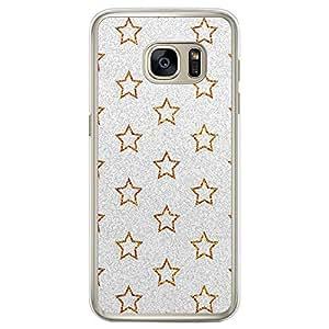 Loud Universe Samsung Galaxy S7 Edge Glitter Gold Stars Designed Transparent Edge Case - Silver