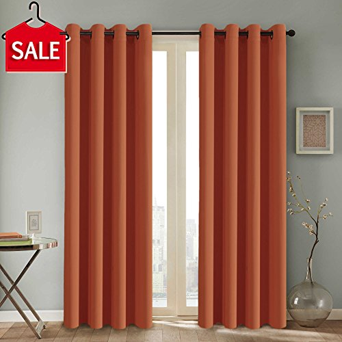 H.VERSAILTEX Thermal Insulated Blackout Window Panels Microfiber Formaldehyde-free Kids Curtains,Grommet Top,52 by 96 - Inch - Burnt Orange - Set of 2 (Panel Thermal Window)
