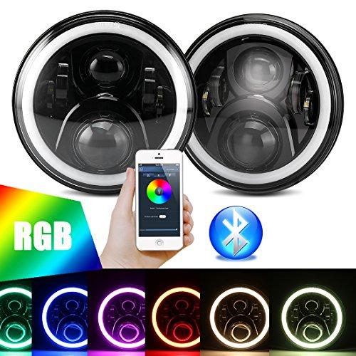 "7 inch LED RGB Headlight,7"" Round DRL Headlamp Flashing RGB Angel Eye Halo Ring Bluetooth Controlled for Jeep Wrangler JK LJ CJ (Halo Angel Eyes Design)"