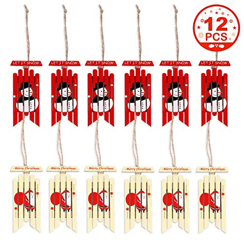 PartyTalk 12pcs Christmas Wooden Ornaments Rustic Snowman Santa Xmas Tree Hanging Wood Sled for Christmas Tree Decorations