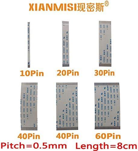 Generic FFC/FPC Flat Flex Cable 10Pin 20Pin 30Pin 40Pin 50Pin 60Pin Same Side 0.5mm Pitch AWM VW-1 20624 20798 80C 60V Length 8cm 5PCS