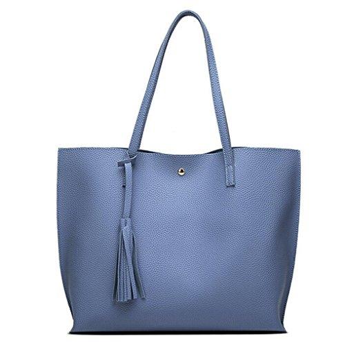 Rakkiss Women Shoulder Tote Bag Girls Tassels Leather Bag Shopping Big Capacity Tote Bags Handbag (One_Size, Sky Blue)