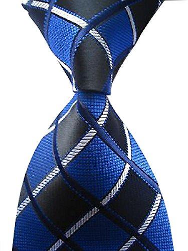 Secdtie Men's Classic Checks Blue Black Jacquard Woven Silk Tie Business - Tie Classic Blue