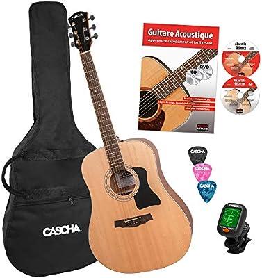Cascha guitarra acústica, Western Guitar, Dreadnought, pack incl ...