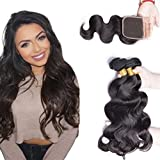 Maxine Brazilian Body Wave Hair 3 Bundles with Closure Grade 9A Virgin Human Hair with Closure Free Part Natural Black Color (10 12 14+10inch)