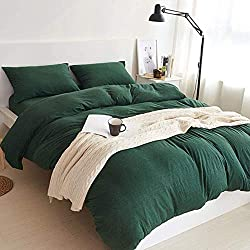 MisDress Jersey Knit Cotton Duvet Cover 3 Pieces Set Ultra Soft Comforter Cover and Pillow Shams Solid Dark Green Bedding Set Twin/Twin XL Size for Kids Teens