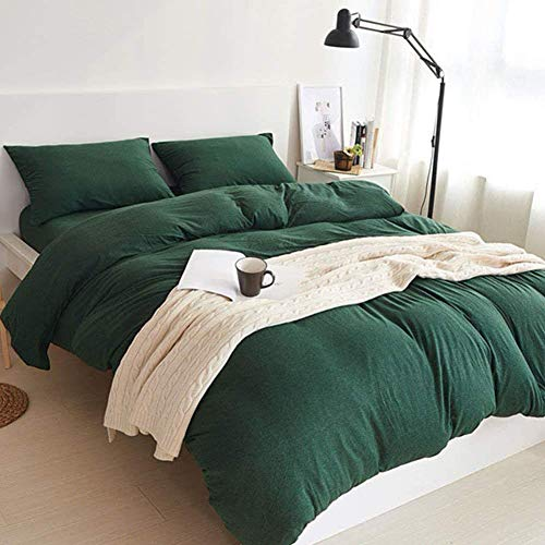 MisDress Jersey Knit Cotton 3 Pieces Duvet Cover Set Ultra Soft Comforter Cover and Pillow Shams Solid Dark Green Bedding Set Full Queen Size by MisDress