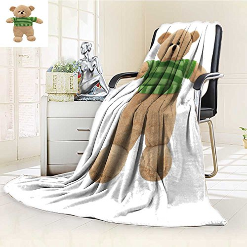 VROSELV Fleece Blanket 300 GSM Anti-Static Super Soft Teddy Bear Stuffed Animal Toy Wearing Green Striped top Isolated on White backg Warm Fuzzy Bed Blanket Couch Blanket(90''x 70'') by VROSELV