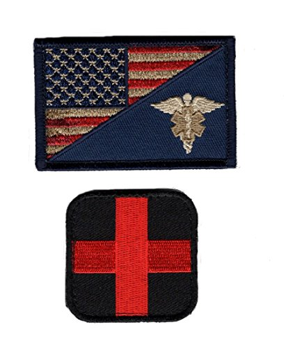 EMT USA Flag Medic Cross Tactical Hook Patch 2pcs Bundle by Miltacusa