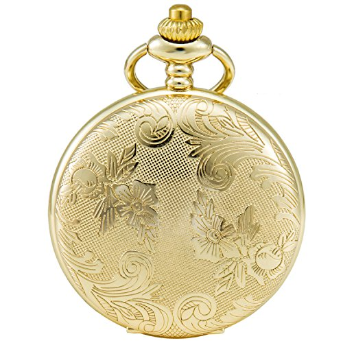 SEWOR Bronze Flowers Vintage Quartz Pocket Watch Shell Dial With Two Type Chain(Leather+Metal) (Gold)
