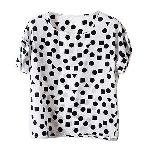 Corte Maniche Camicetta Camicia Vobaga T Blouse Bianco Shirt Donna Chiffon Geometrico pfHqwn