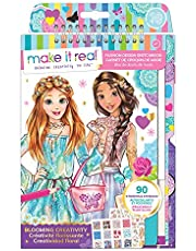 Make It Real – Fashion Design Sketchbook: Blooming Creativity. Inspirational Fashion Design Coloring Book for Girls. Includes Sketchbook, Stencils, Puffy Stickers, Foil Stickers, and Design Guide