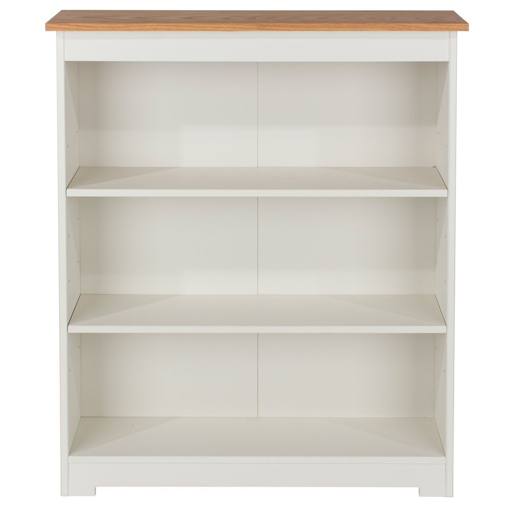 Core Products Low Wide Bookcase with Oak Veneered Tops, Wood, Soft Cream CL918