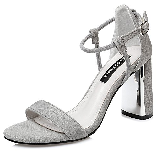 Toe Strap Women's Block Aisun Gray Buckled Stylish Sandals High Suede Faux Open Heel SxXgg0wq4
