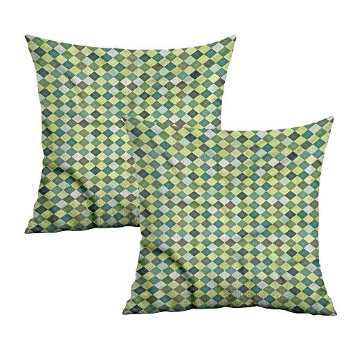 Khaki home Plaid Square Kids Pillowcase Traditional Argyle Green Square Pillowcase Protector Cushion Cases Pillowcases for Sofa Bedroom Car W 24