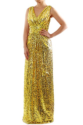 Dress Sequin MACloth Gown V Evening Long Formal Bridesmaid Gold Neck Straps Ruched dOvqEq
