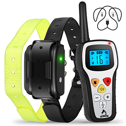 Patpet Pro Dog Training Collar with Remote, IPX7 Waterproof Rechargeable Dog Shock Collar, 1300ft Long Remote Range, Beep/Vibrate/Shock E-Collar for Small Medium Large Dogs, Auto Pair&Safe Buttons