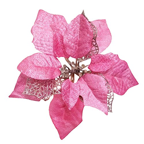 Pink Christmas Decorations - Crazy Night (Pack of 12) Glitter Poinsettia Christmas Tree Ornaments (Pink)