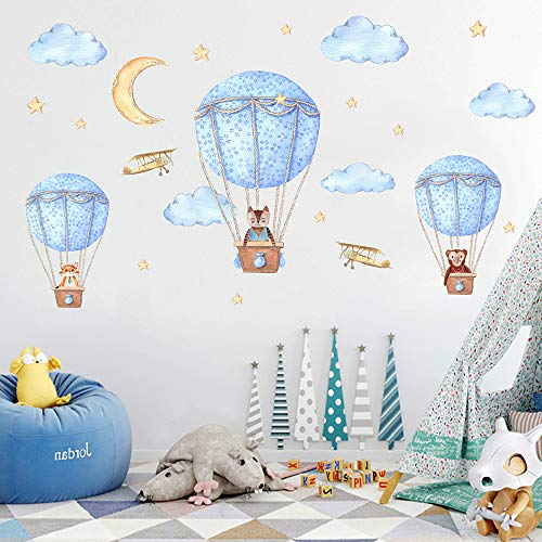 huangliao Hot Air Balloons Wall Decals Cloud Animals Moon Star Wall Stickers Peel and Stick Removable Art Mural for Kids Baby Boy Girl Nursery Bedroom Living Room Playroom (Hot air Balloon)