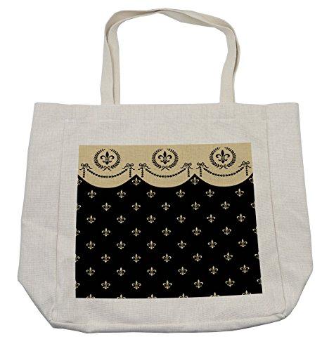 Lunarable French Shopping Bag, Pattern of Fleur de Lis Ancient Symbol Illustration Baroque Inspired Print, Eco-Friendly Reusable Bag for Groceries Beach Travel School & More, Cream