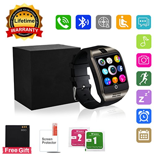 Bluetooth-Smart-Watch-Touchscreen-with-CameraUnlocked-Watch-Cell-Phone-with-Sim-Card-SlotSmart-Wrist-WatchWaterproof-Smartwatch-Phone-for-Android-Samsung-IOS-Iphone-7-Plus-6S-Black
