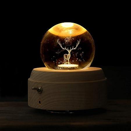 Meyeye La Caja de música Luminosa Girar Luna Bola de Cristal Caja de música del Tema