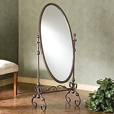 Lourdes Full Length Metal Cheval Mirror - 24W x 56.75H in. - Dimensions: 24W x 14D x 56.75H inches Cheval designs allows tilt for the perfect angle Durable metal frame features elegant scroll details - mirrors-bedroom-decor, bedroom-decor, bedroom - 51XNWCXH7xL. SS400  -