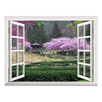 White Window Looking Out Into a Japanese Garden with Cherry Blossom Trees and a Kiosk Wall Mural, Created By a Professional Artist, Incredible Artistry