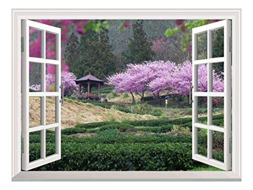 White Window Looking Out Into a Japanese Garden with Cherry Blossom Trees and a Kiosk Wall Mural