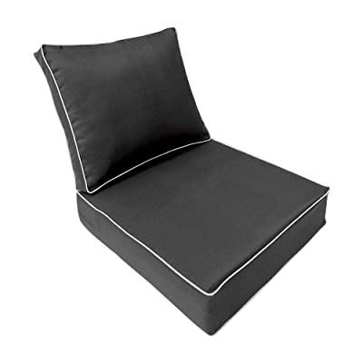 PROLINEMAX Contrast Piped Trim Medium 24x26x6 Deep Seat + Back Slip Cover Only Outdoor Polyester AD003: Home & Kitchen