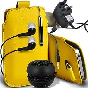 ONX3 BenQ A3 Leather Slip cuerda del tirón de la PU de protección en la bolsa del lanzamiento rápido con Mini capacitivo Stylus Pen retráctil, 3.5mm en auriculares del oído, mini altavoz recargable Cápsula, Micro USB CE aprobó 3 Pin Cargador (amarillo)