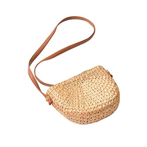 Bolso de mano de bambú bolso de mano bolso de media luna de paja para mujer, bandolera de viaje bolsa de viaje trenzada de paja de doble uso
