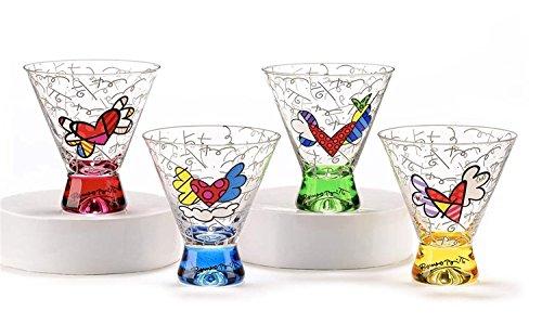 Romero Britto Short Martini Glass Set (4 Assorted Colors: Blue, Yellow, Pink, Green)