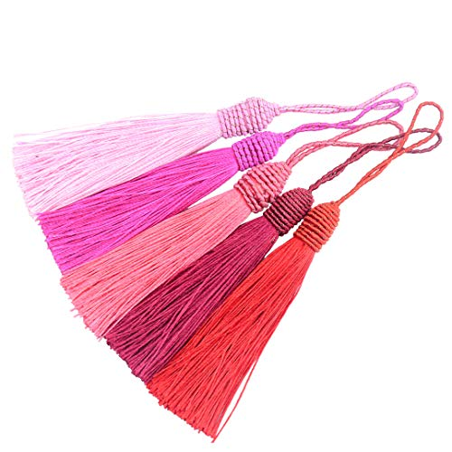 20pcs 15.5cm/6 Inch Silky Floss Bookmark Tassels with 2-Inch Cord Loop and Small Chinese Knot for Jewelry Making, Souvenir, Bookmarks, DIY Craft Accessory (Mixed Red)