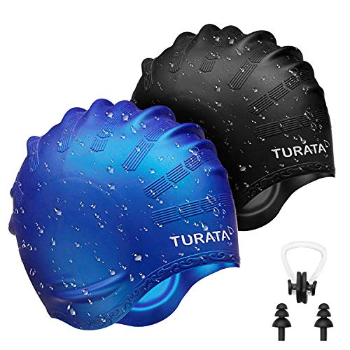 TURATA Swimming Cap 2 Pack Swim Caps Waterproof Unisex Ear Protection Earmuffs Premium Silicone No-Slip with Nose Clip & Ear Plugs for Adults Kids Woman and Men One Size Hat