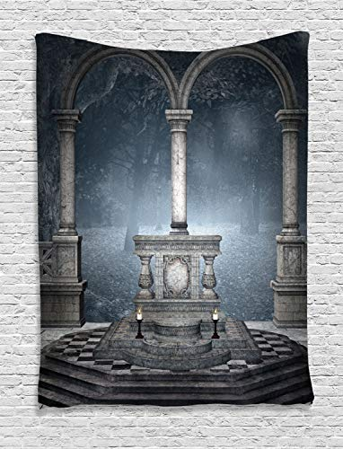 - Ambesonne Gothic Tapestry, Altar on a Checkered Floor in Scary and Hazy Winter Forest Scenery Illustration, Wall Hanging for Bedroom Living Room Dorm Decor, 40
