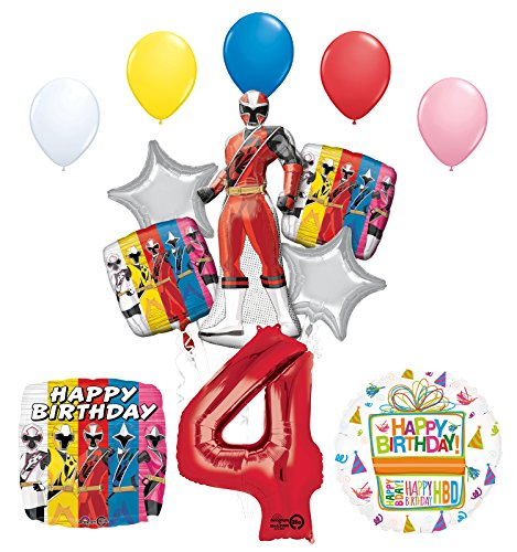 The Ultimate Power Rangers Ninja Steel 4th Birthday Party Supplies and Balloon Decorations -