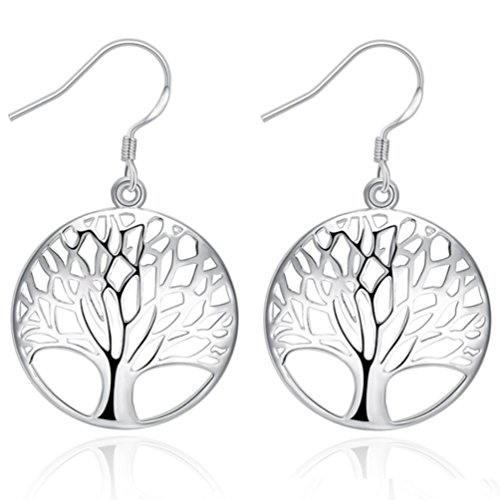 AMBESTEE Tree of Life Fashion Design Sterling Silver Plated Drop Dangle Earrings Pendants Set for Women Girls (Silver Charming Life)
