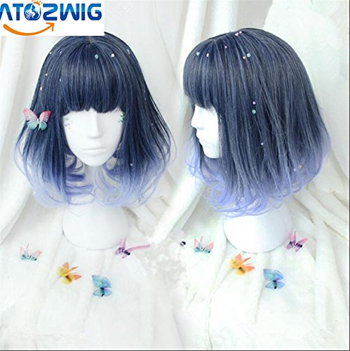 ATOZWIG Short Blue Black Mixed Lolita Wig Synthetic Anime Cosplay Party Women Hair Heat Resistance Wig