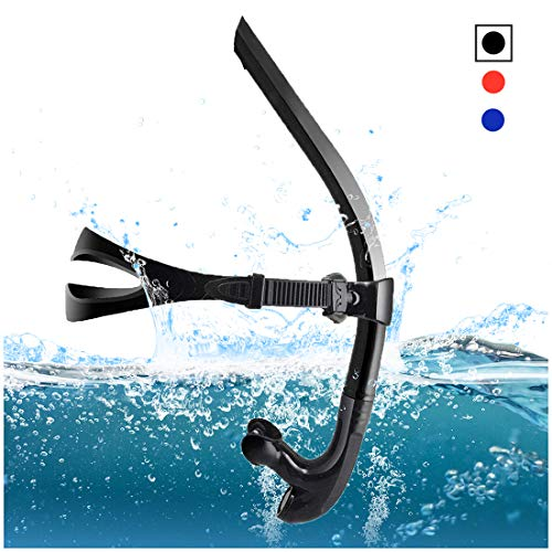 TangyueW Swim Snorkel, One-Way Purge Valve Swimmers Snorkel for Lap Swimming Training Snorkeling, Front Mounted Training Gear with Comfortable Silicone Mouthpiece ()