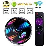Android TV Box 【4GB RAM 32GB ROM】Android 9.0 TV Box H96 MAX Amlogic S905X3 64-bit Quad Core Arm® Cortex™ A55 CPU con Dual-WiFi 2.4GHz/5GHz LAN 1000M 8K*4K UHD H.265 USB 3.0 Smart TV Box