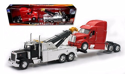 New Ray Toys 1:32 Scale Peterbilt Tow Truck With Red Peterbilt Cab Semi Truck (Diecast Semi Truck)