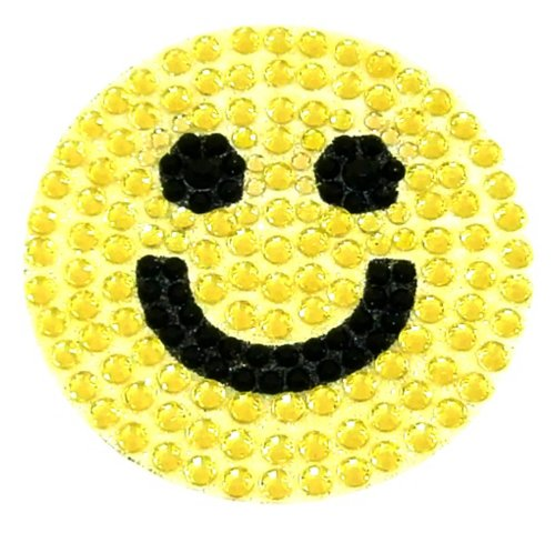 Yellow Smiley Face Crystal Rhinestone Removable Decal Sticker