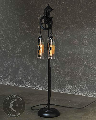 The Gatsby St. Germain Edition - Vintage Style Floor Lamp With Pulley Wheel, Recycled Glass -