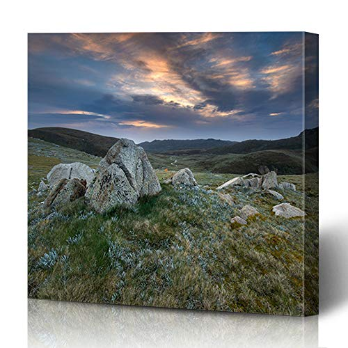 Onete Canvas Prints Painting Artwork 16x16 Sunrise Tent Kosciuszko National Summer Park NSW Tourism Australia Landscape at Sports Recreation Wall Art Printing Home Bedroom Living Room Office Dorm (Outdoor Furniture Nsw)