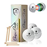 CAITON Foam Golf Practice Balls, Foam Golf Balls Super Soft for Indoor Practice Training with Adjustable Rubber Golf Tee Pack of 12 Yellow (Practice Ball)
