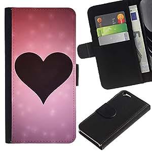 Caso Billetera de Cuero Titular de la tarjeta y la tarjeta de crédito de la bolsa Slot Carcasa Funda de Protección para Apple Iphone 6 4.7 Love Pink Heart Love / JUSTGO PHONE PROTECTO