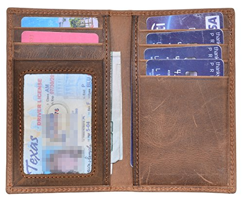 Slim Thin ID/Credit Card Holder RFID Genuine Leather Bifold Front Pocket Wallet (Brown (Crazy Horse Leather))