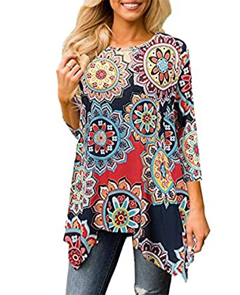 XUERRY Women Plus Size 3/4 Sleeve Tunic Tops Loose Floral Print Shirt (US S, Multicolored)